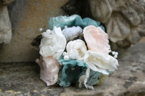 Handmade knitted wedding bouquet