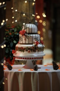 bird cage wedding cake in orange and brown