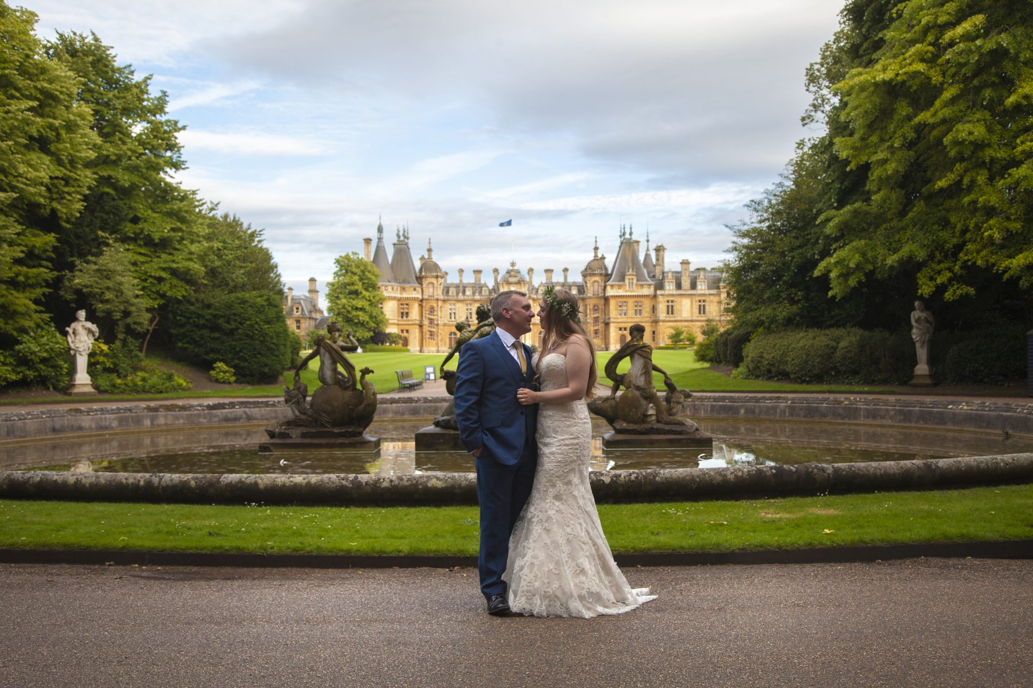 Bride and Groom at Waddesdon Manor