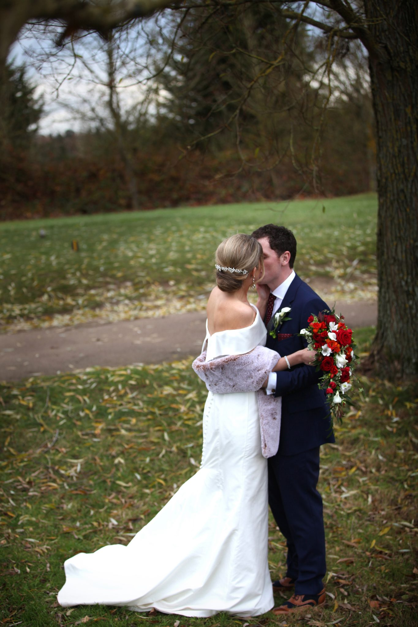 Bride and groom, Essendon Country Club, winter wedding