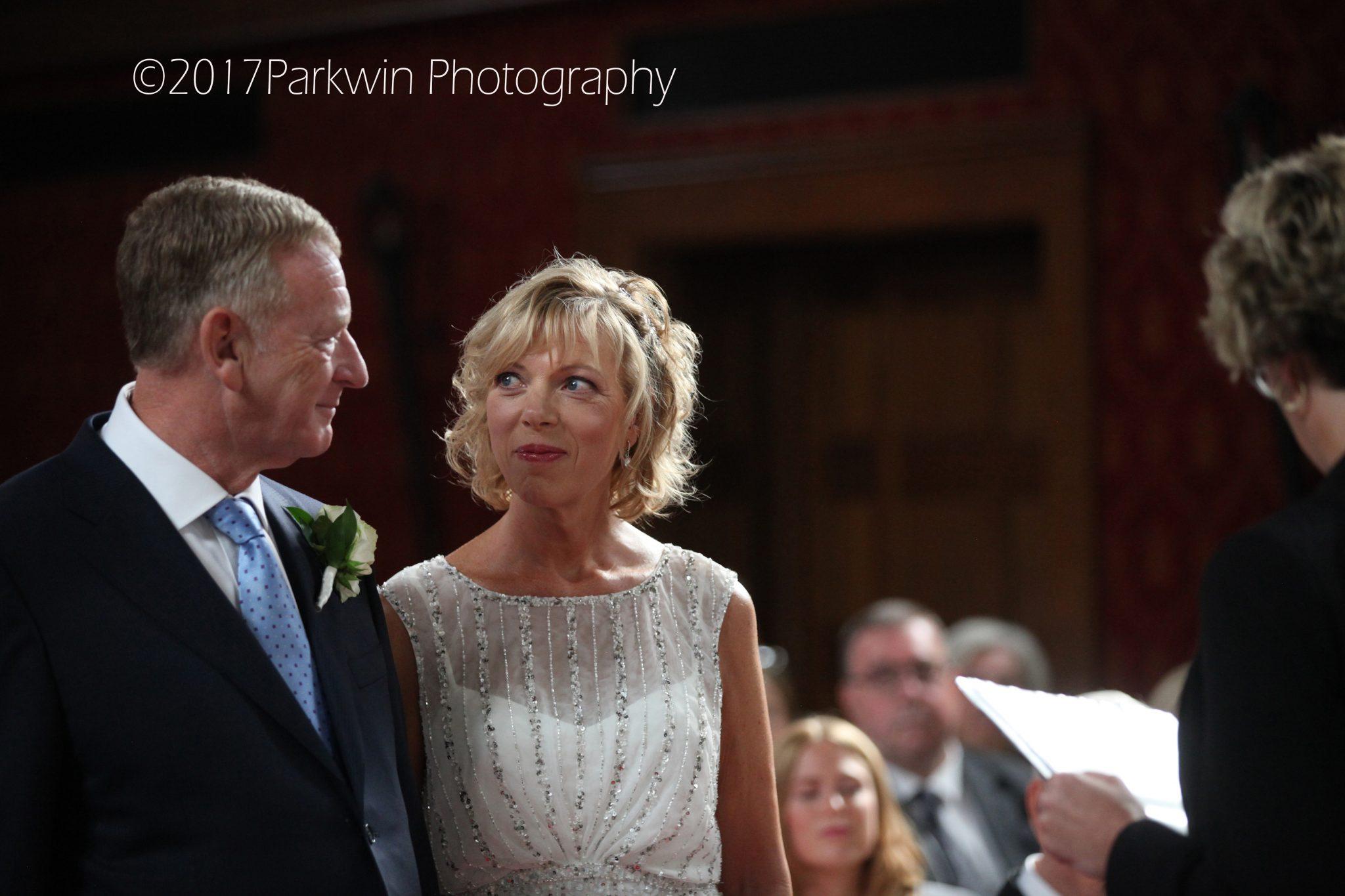 Bride and groom wedding ceremony, Hanbury Manor