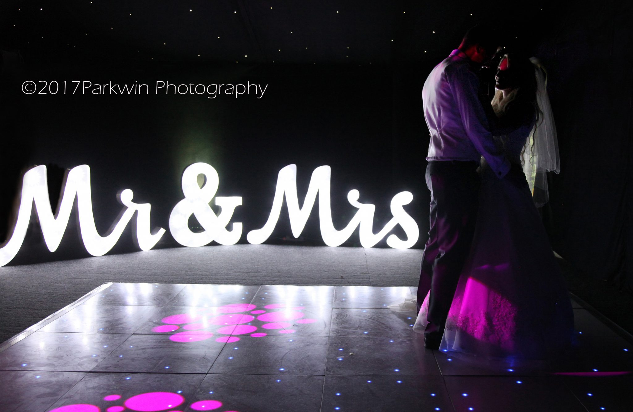 Mr and Mrs light up letters first dance Hunton Park